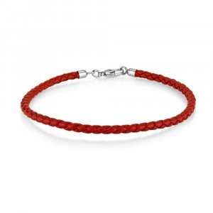 Red Leather Charm Bracelet in 17.5 cm Length  Bracelets Juifs