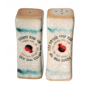 Ceramic Salt and Pepper Shakers Featuring Lecha Dodi  Kitchen Supplies