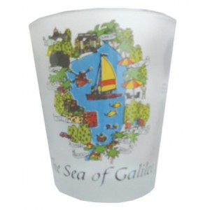 Shot Glass with Detailed Sea of Galilee and Map of Israel Image Shot Glasses