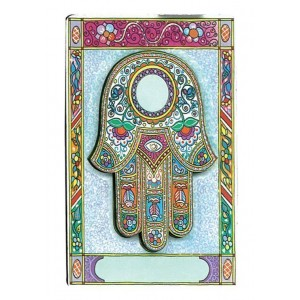 Wood Hamsa Magnet with Bright Floral Pattern CLEARANCE