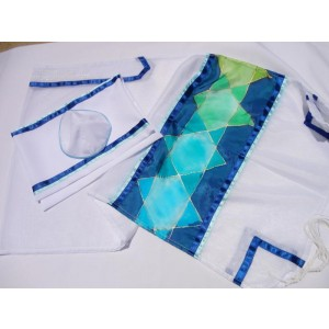 Women's Tallit with Embroidered Stars of David by Galilee Silks Bar Mitzvah