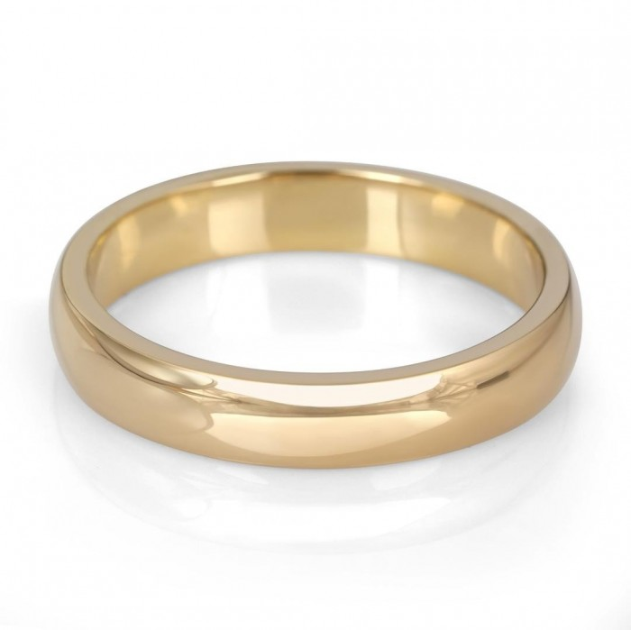14K Gold Jerusalem-Made Traditional Jewish Wedding Ring With Comfort Edge (4 mm)