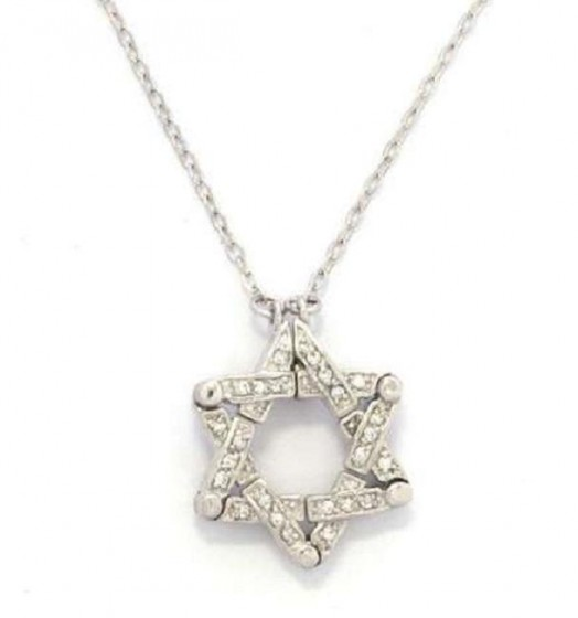 Necklace with Zircon Star of David in Rhodium Plated
